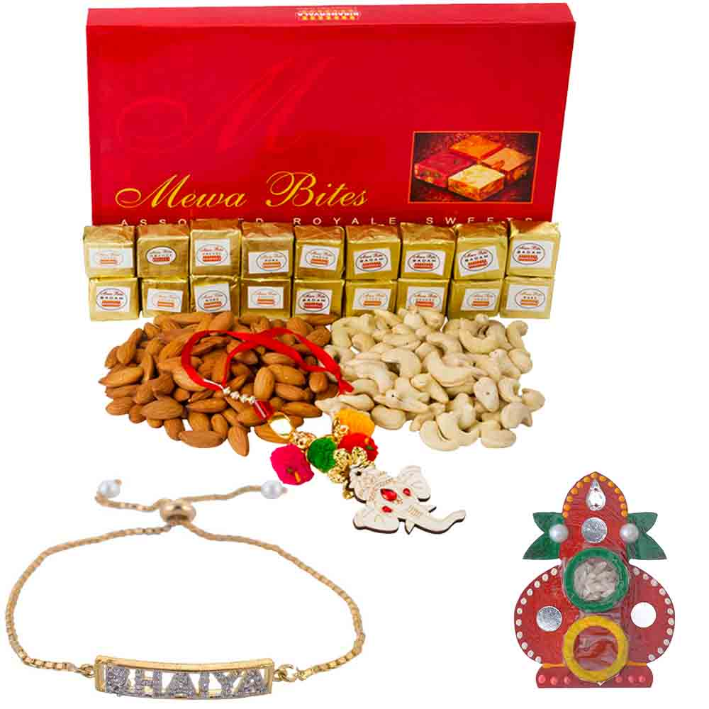 Rakhi Hampers-Loving Bhaiya American Diamond Rakhi with Bikanervala Assorted mewa bites n Dry Fruits Hamper