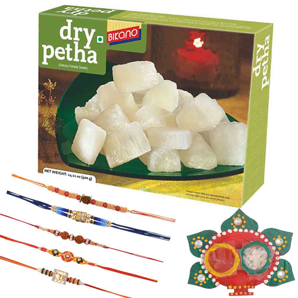Bikano Dry Petha with Family Rakhi Set(Set of 5 Rakhis)