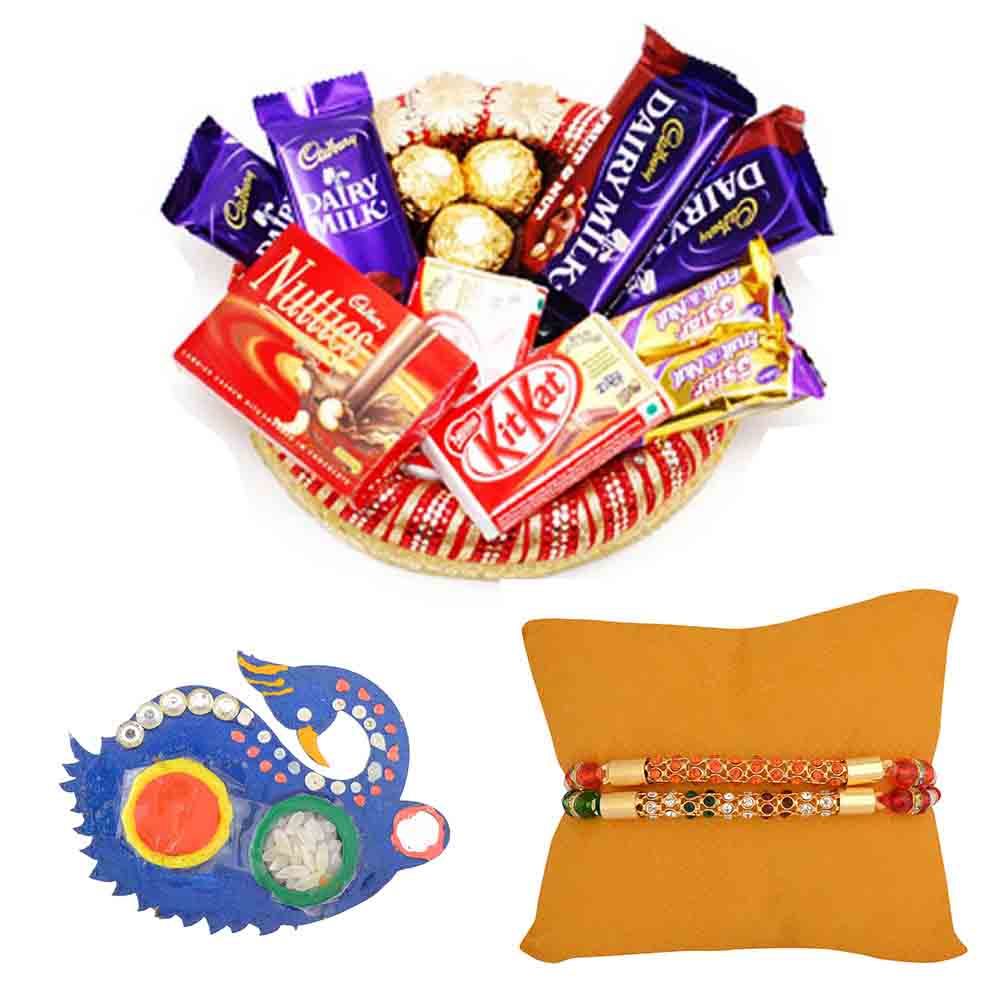 Collection of Chocolates with Set of 2 Rakhis