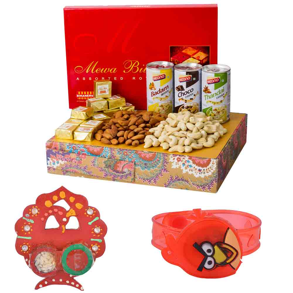 Rakhi Hampers-Bikanervala Badam Choco Thandai Nutty with Kids Rakhi