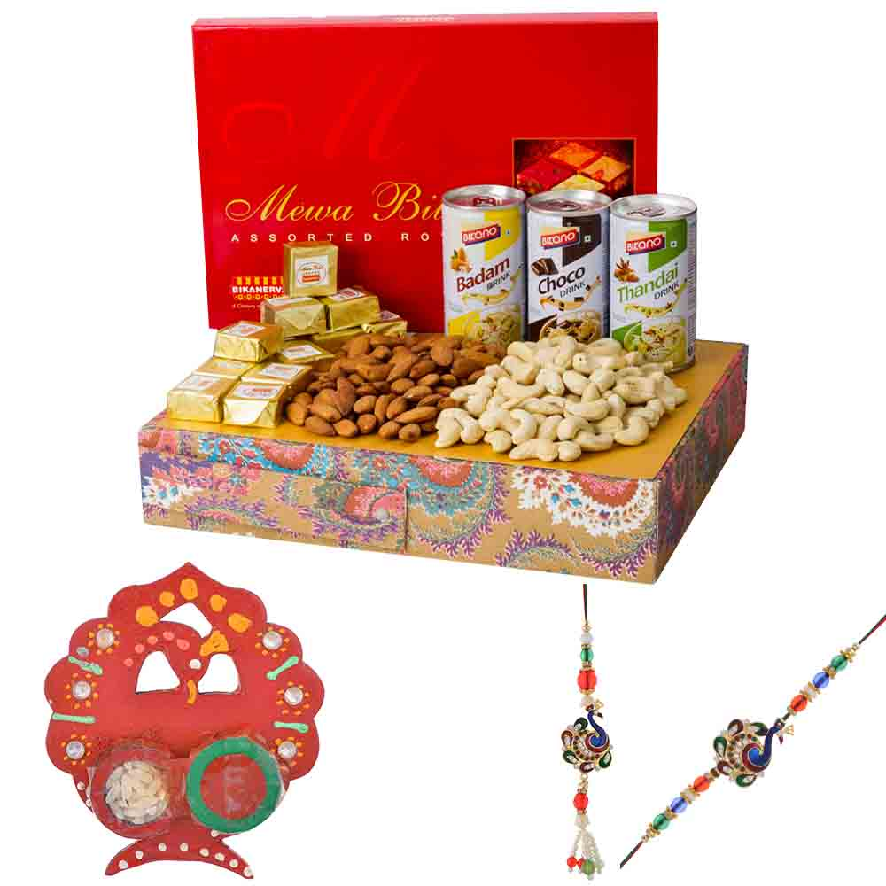 Rakhi Hampers-Bikanervala Badam Choco Thandai Nutty with Bhaiya Bhabhi Rakhi Set