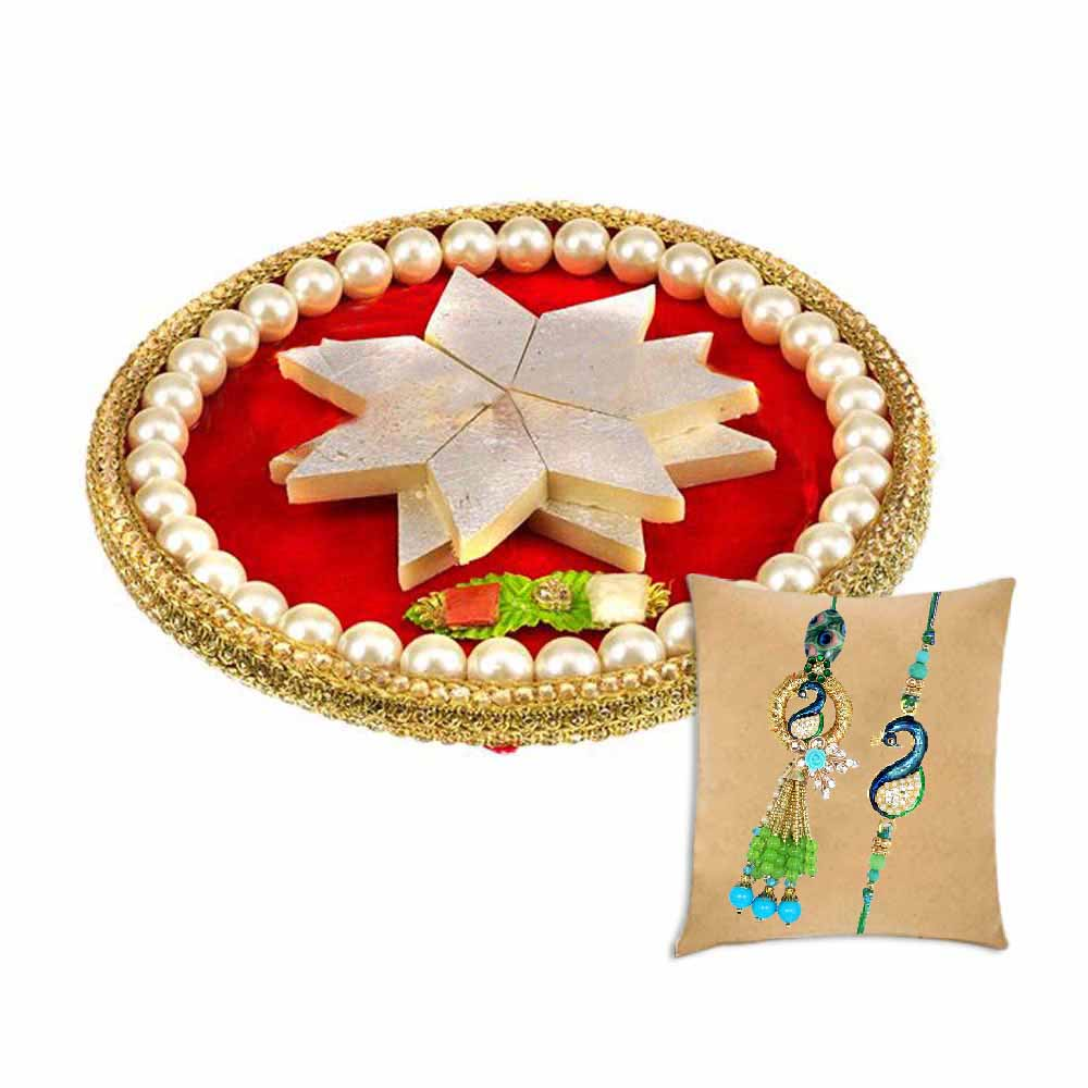 Royal Pearl Thaali with Bhaiya Bhabhi Rakhi Set