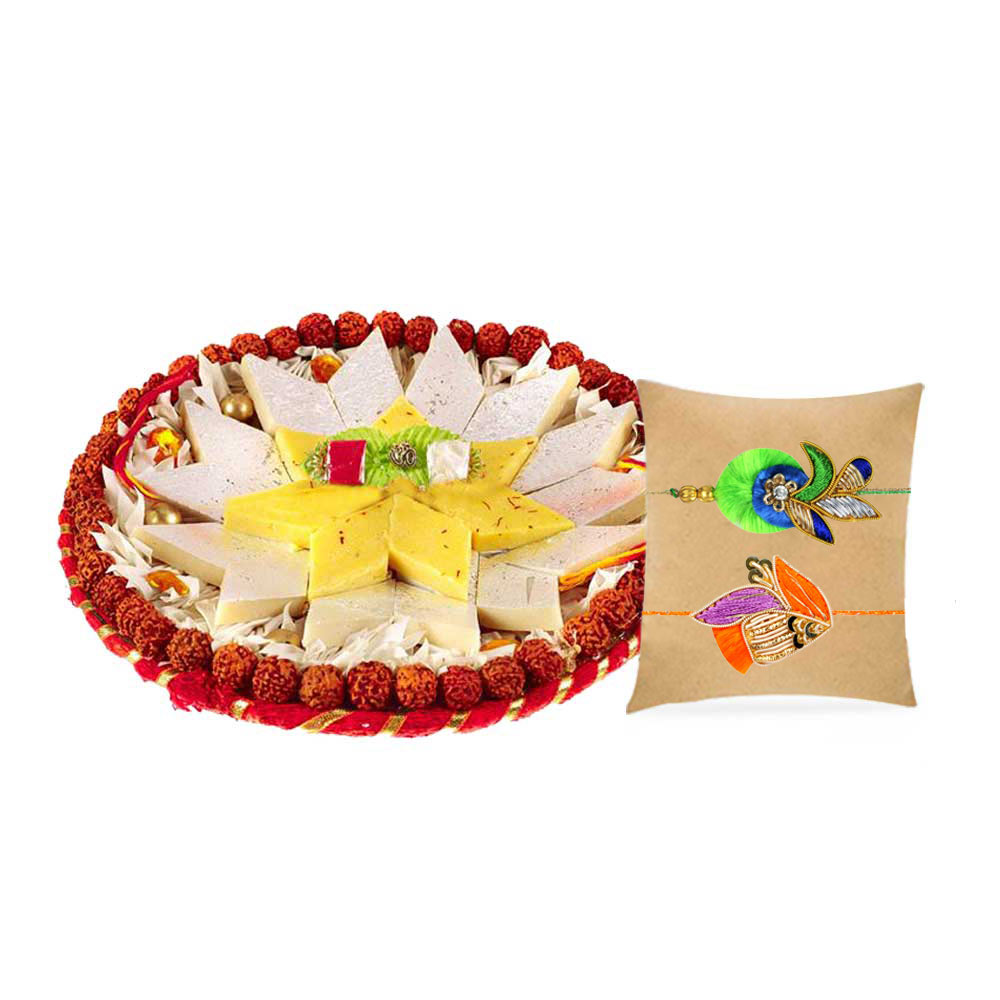 Shubh Thaali with set of 2 Zardozi Rakhis