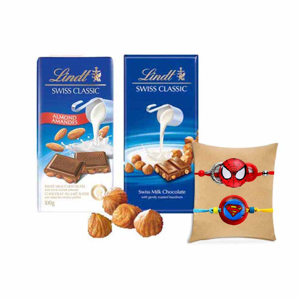 Lindt Swiss Classic Combo with 2 Kids Rakhis