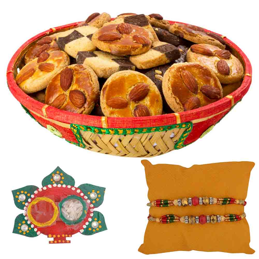 Bikanervala Crunchy cookies Raksha Bandhan Hamper with Set of 2 Rakhis