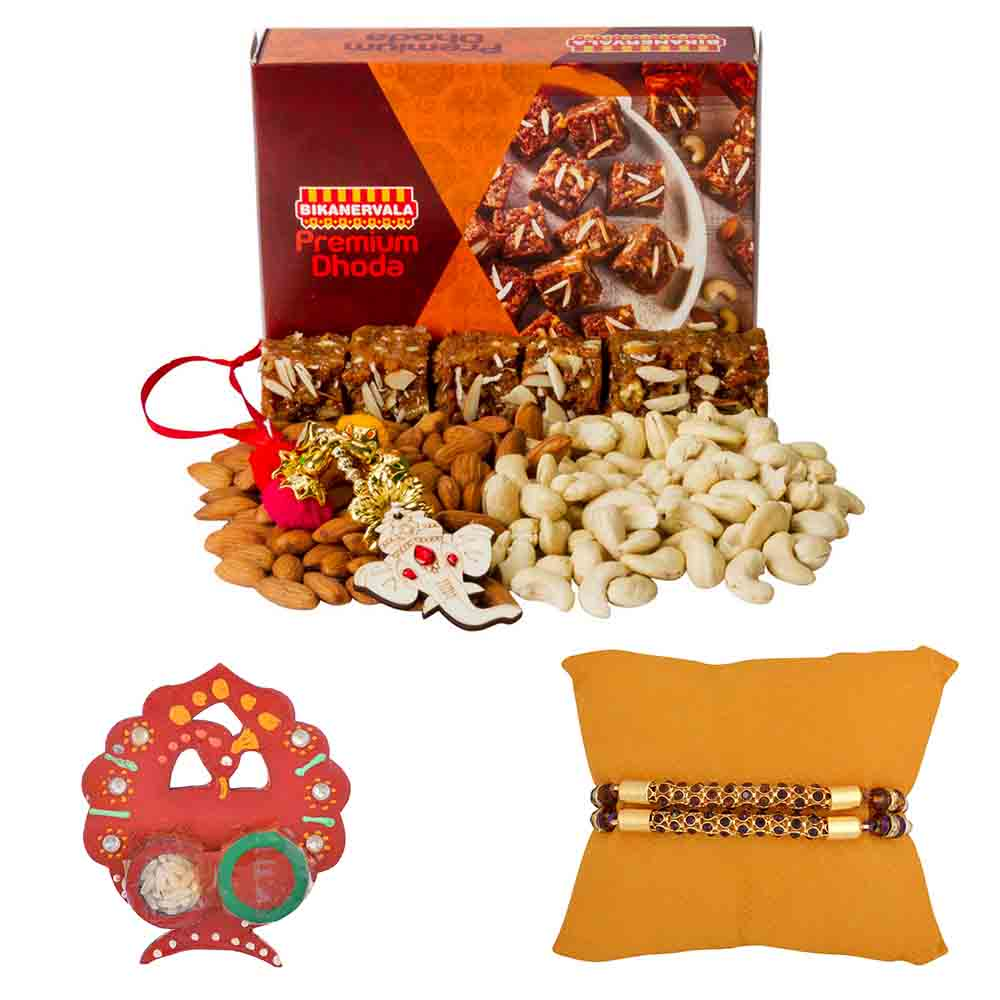 Rakhi Hampers-Bikanervala Nutty Dhoda with Set of 2 Rakhis
