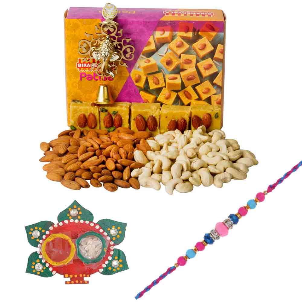 Rakhi Hampers-Bikanervala Nutty Patisa with Designer Rakhi