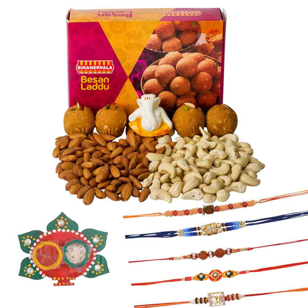 Rakhi Hampers-Bikanervala Besan Laddoo with Family Rakhi Set(Set of 5 Rakhis)