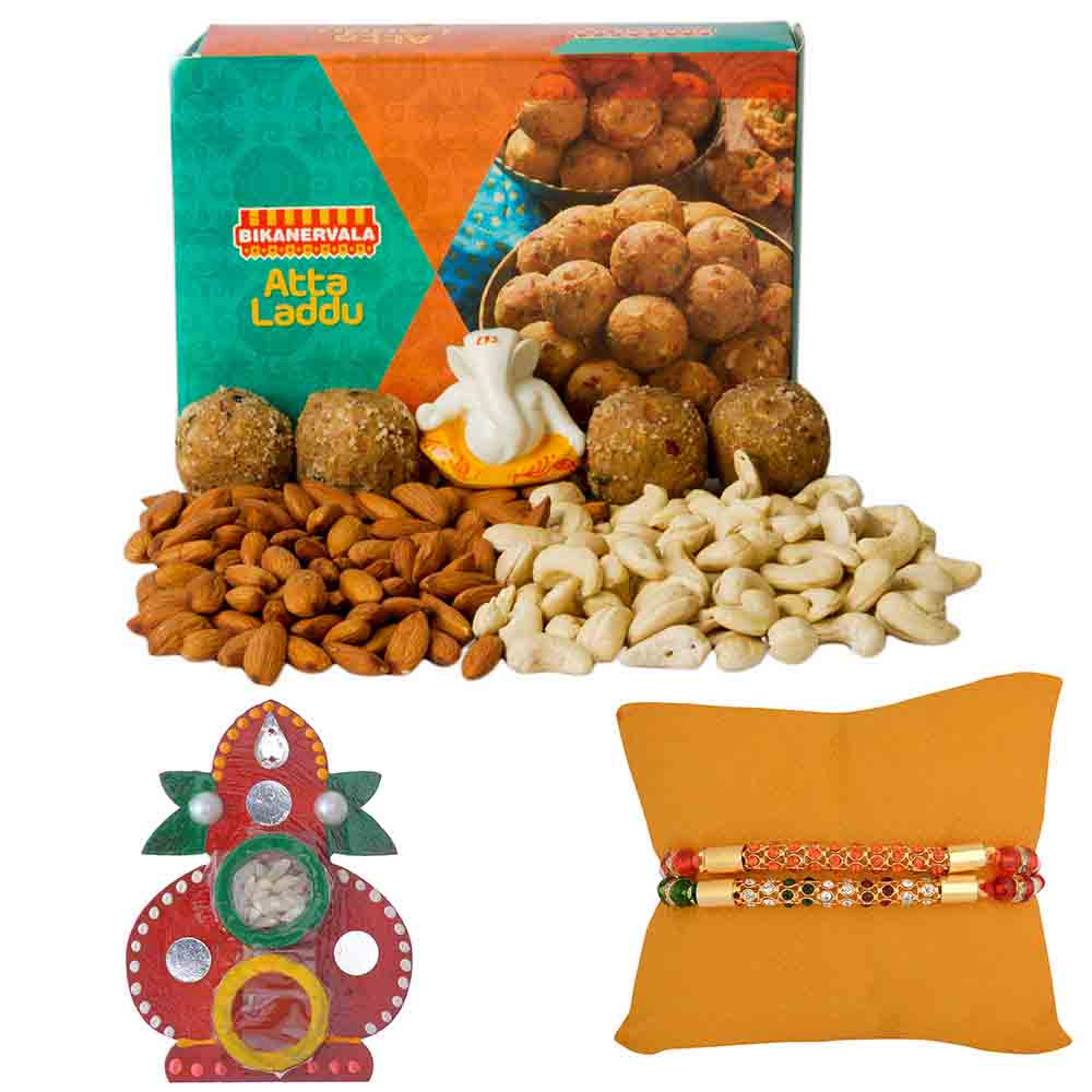 Rakhi Hampers-Bikanervala Nutty Atta Laddoo with Set of 2 Rakhis