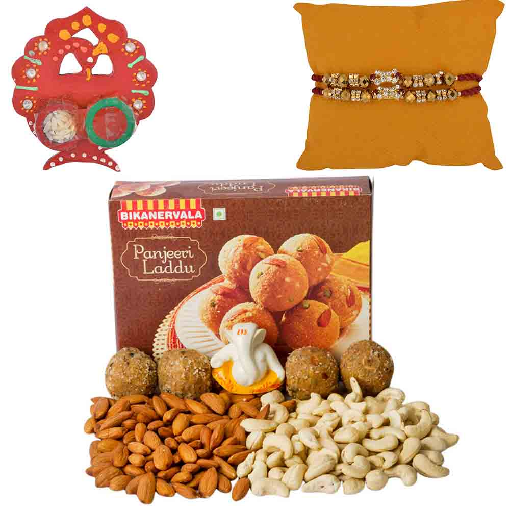 Bikanervala Nutty Panjeeri Laddoo with Set of 2 Rakhis