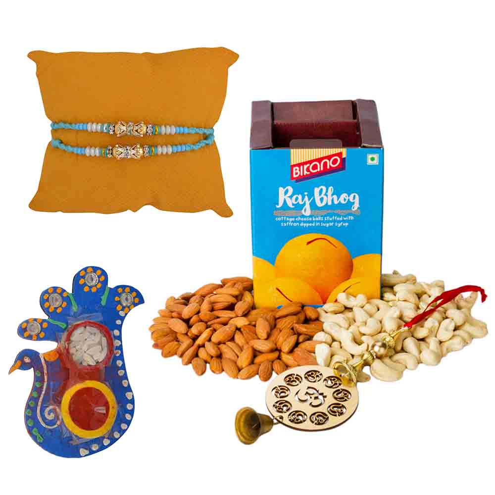 Bikanervala Nutty Rajbhog Raksha Bandhan Hamper with Set of 2 Rakhis