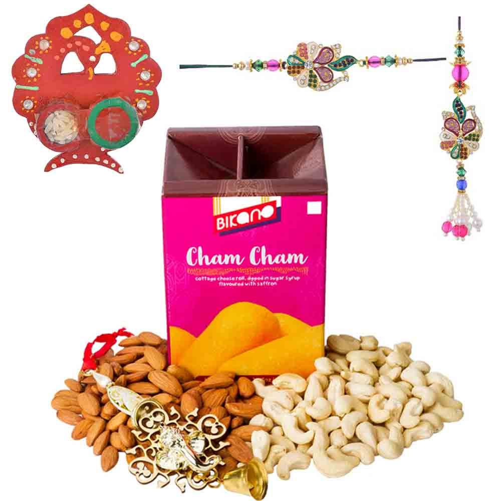 Bikanervala Nutty Chamcham with Bhaiya Bhabhi Rakhi Set