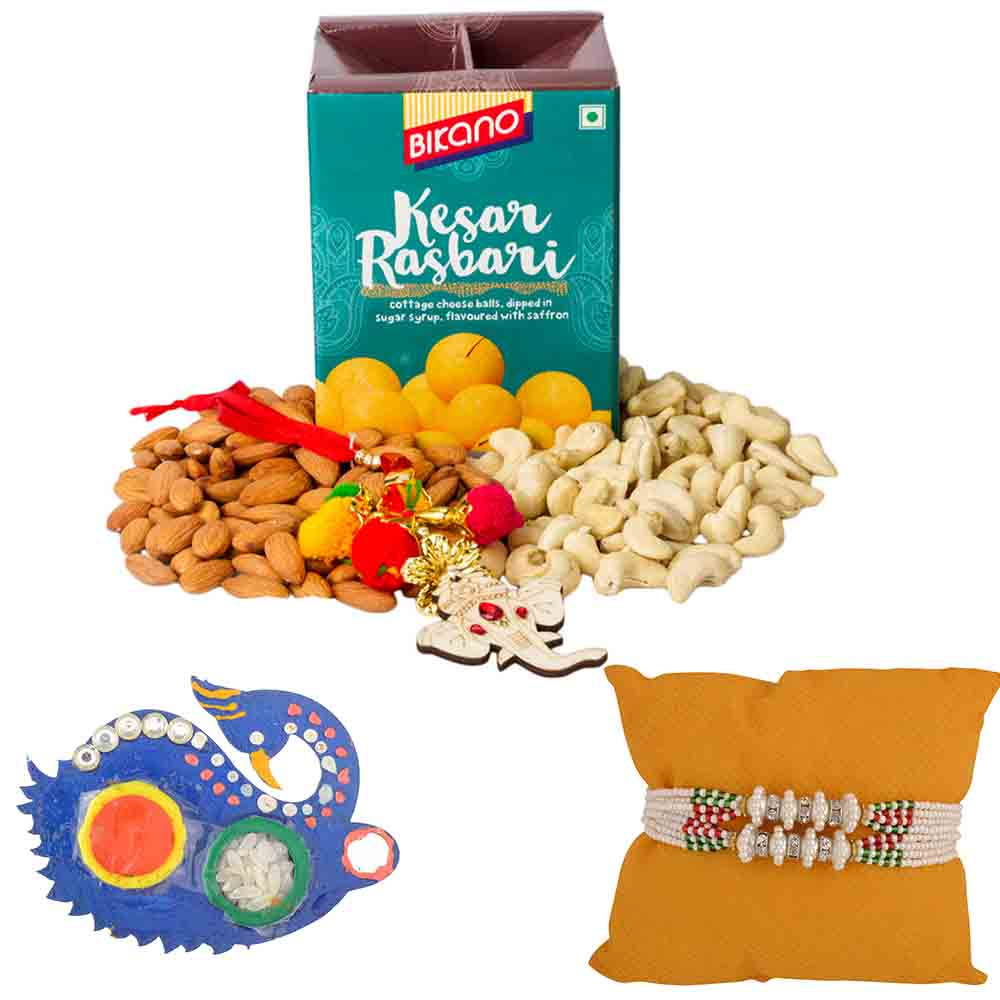 Bikanervala Nutty Kesar Rasbhari with Set of 2 Rakhis