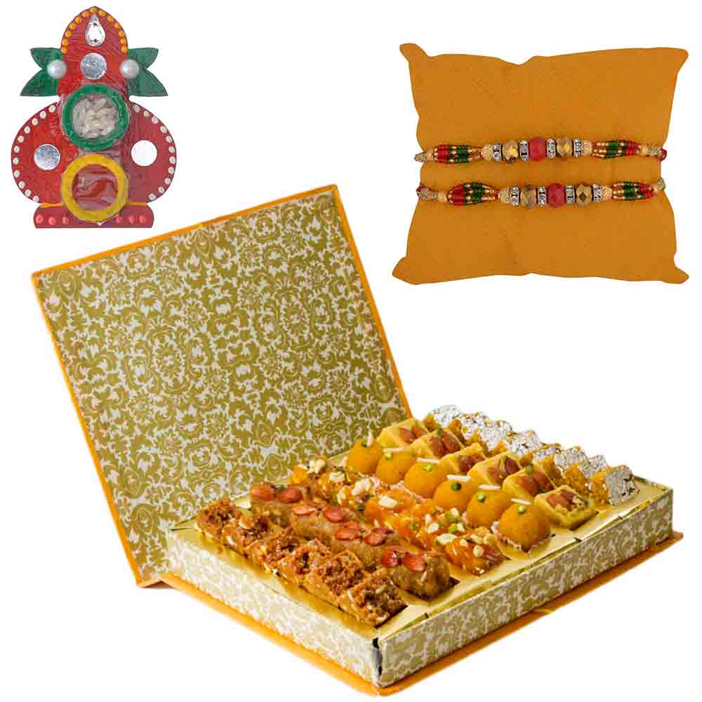 Bikanervala Lipsmacking Jumbo Sweet Savory Hamper with Set of 2 Rakhis