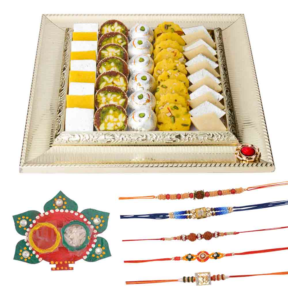 Bikanervala Raksha Bandhan Thali n Exotic Sweets Hamper with Family Rakhi Set(Set of 5 Rakhis)