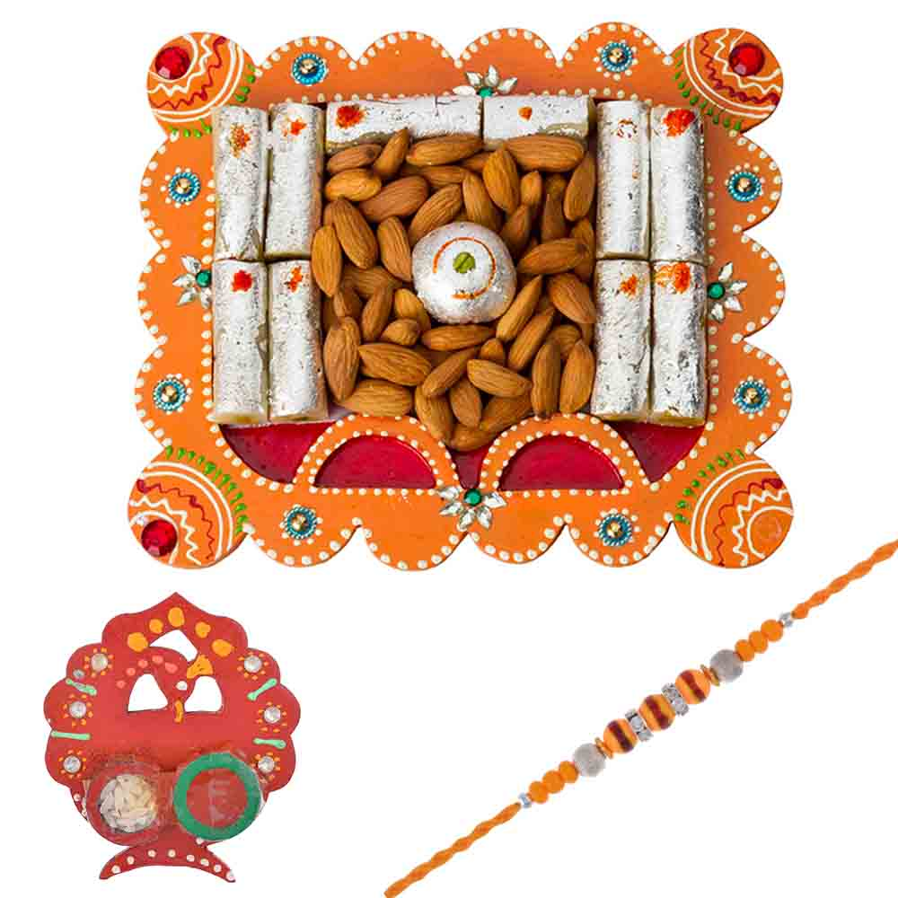 Bikanervala Nutty Sweet Ethenic Hamper with Designer Rakhi