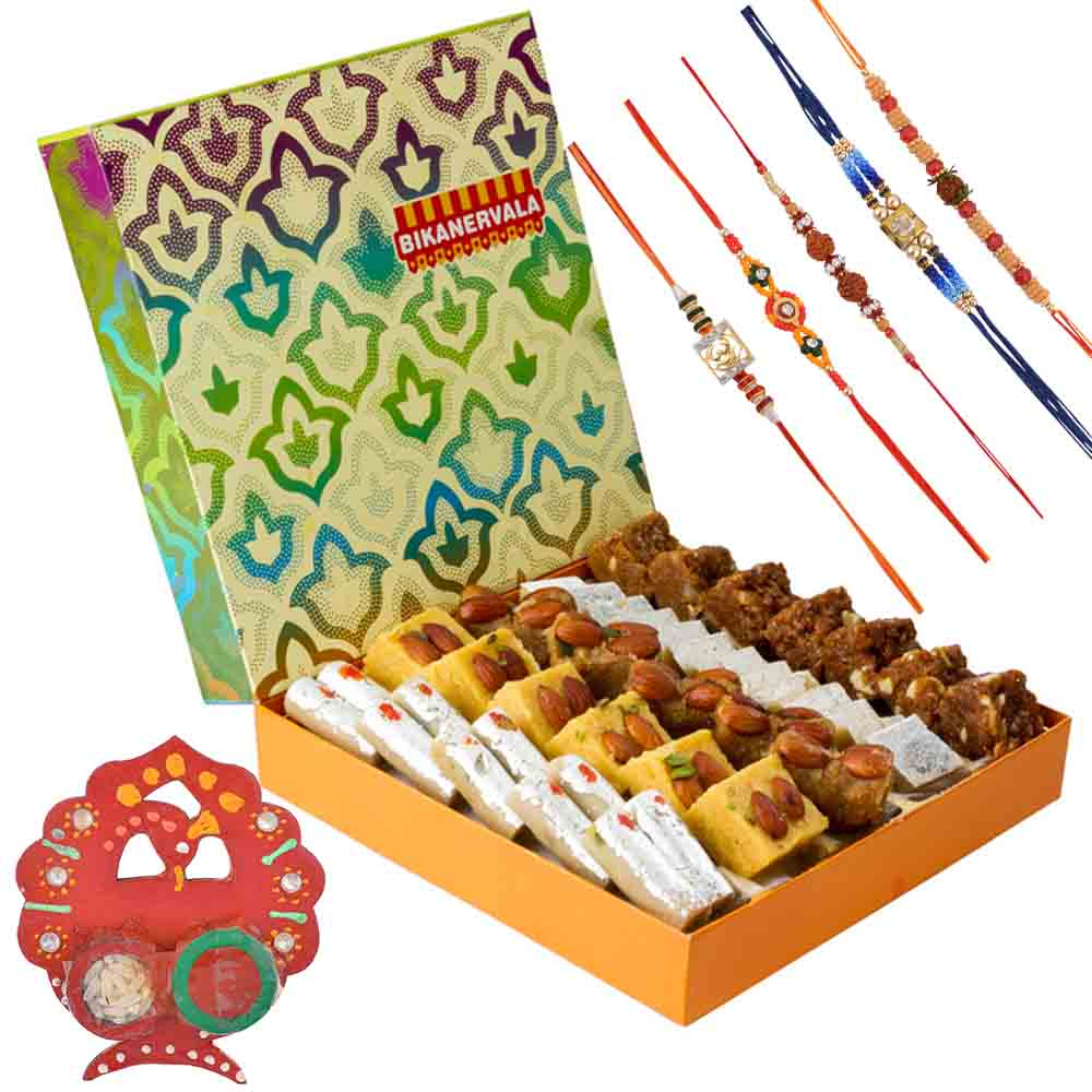 Bikanervala Traditional Abundance with Family Rakhi Set(Set of 5 Rakhis)