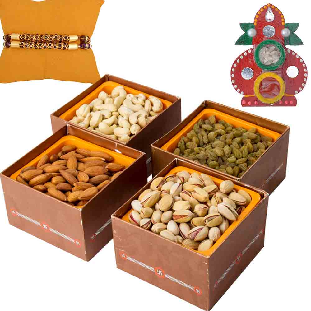 Dry fruits Jumbo Combo with Set of 2 Rakhis