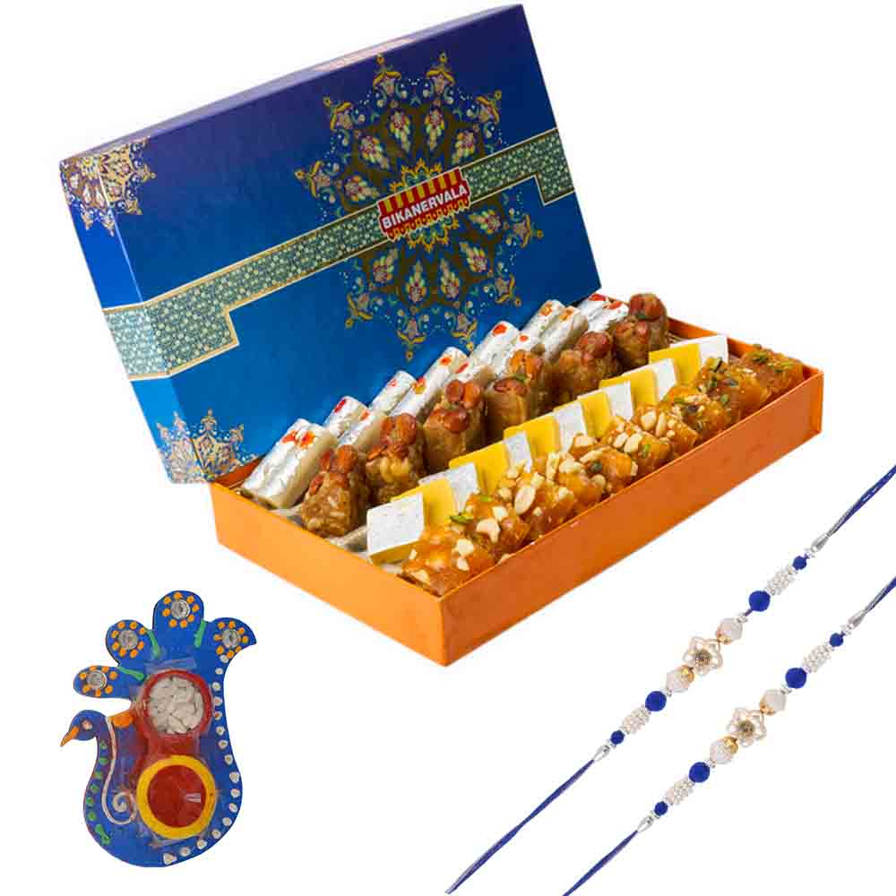 Bikanervala Golden Sweets Combo with Set of 2 Rakhis