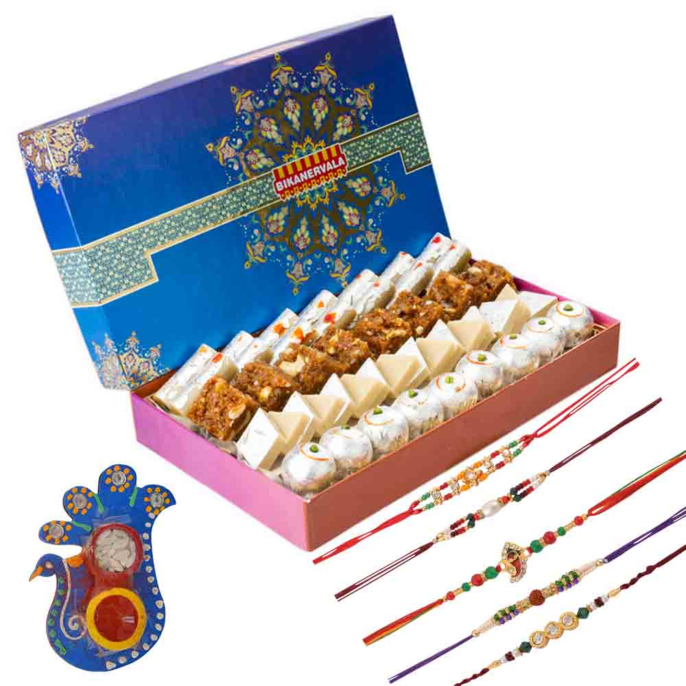 Bikanervala Silver Combo with Family Rakhi Set(Set of 5 Rakhis)