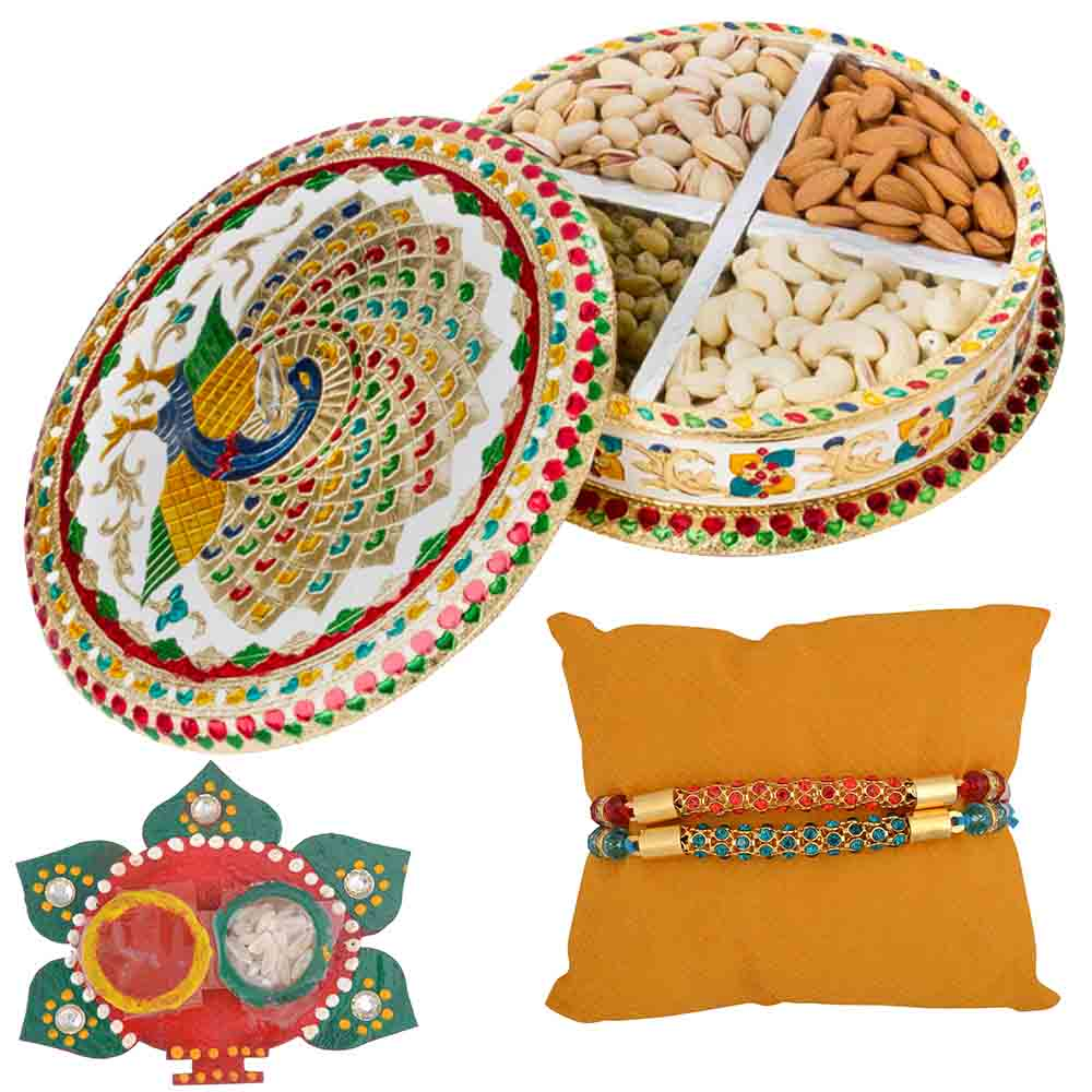 Meenakari Raksha Bandhan Dry fruit Hamper with Set of 2 Rakhis