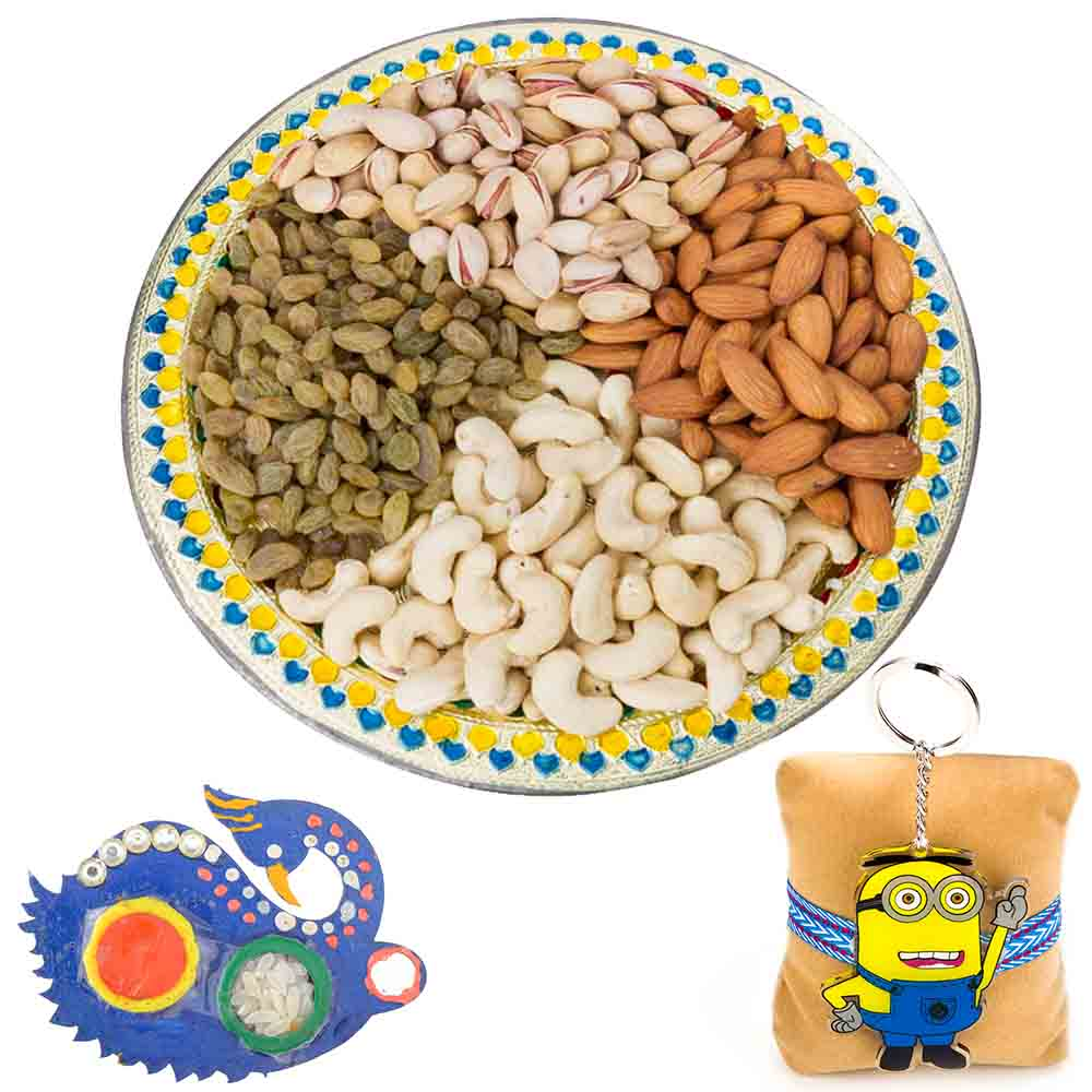 Traditional Raksha Bandhan Dry fruit Tray with Kids Rakhi