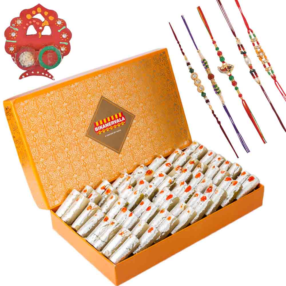 Bikanervala Kaju Roll with Family Rakhi Set(Set of 5 Rakhis)