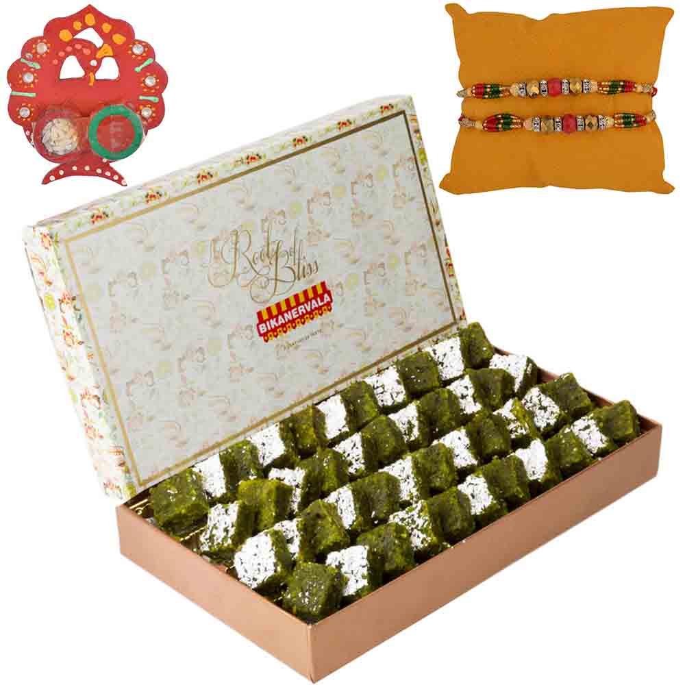 Rakhi Hampers-Bikanervala Pista Lauj with Set of 2 Rakhis