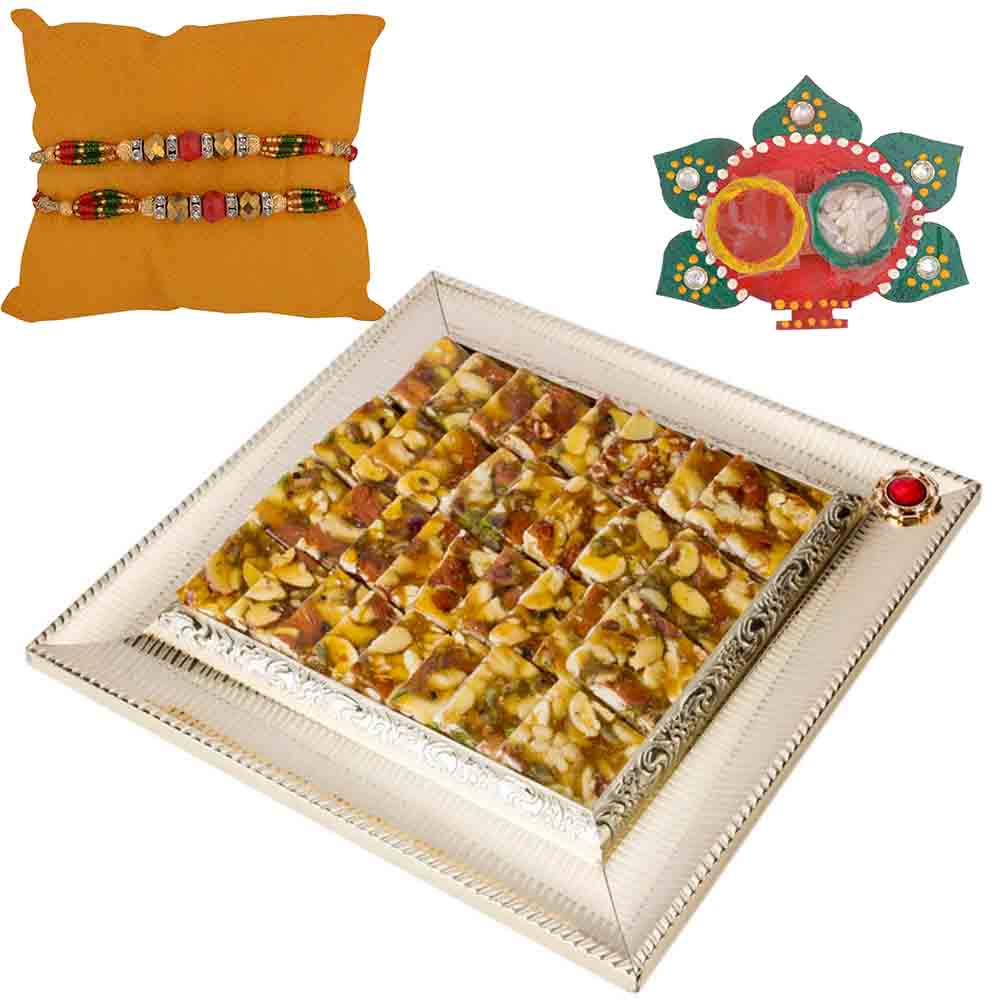 Bikanervala Shahi Badaam Chikki with Set of 2 Rakhis