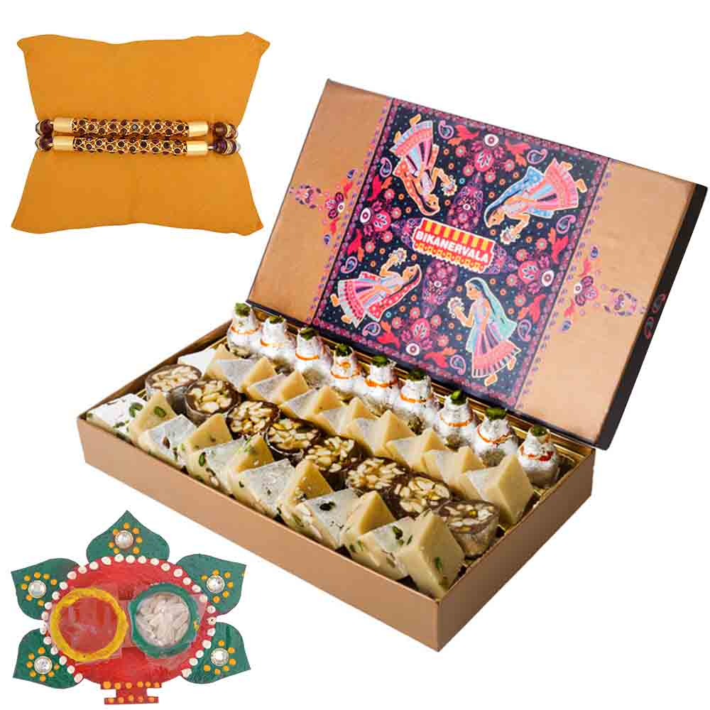 Bikanervala Platinum Sweets with Set of 2 Rakhis