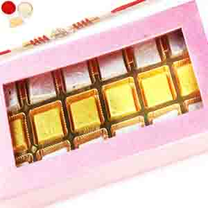 Rakhi Hampers-Pink 15 pcs Assorted Chocolate Box with Red Pearl Rakhi