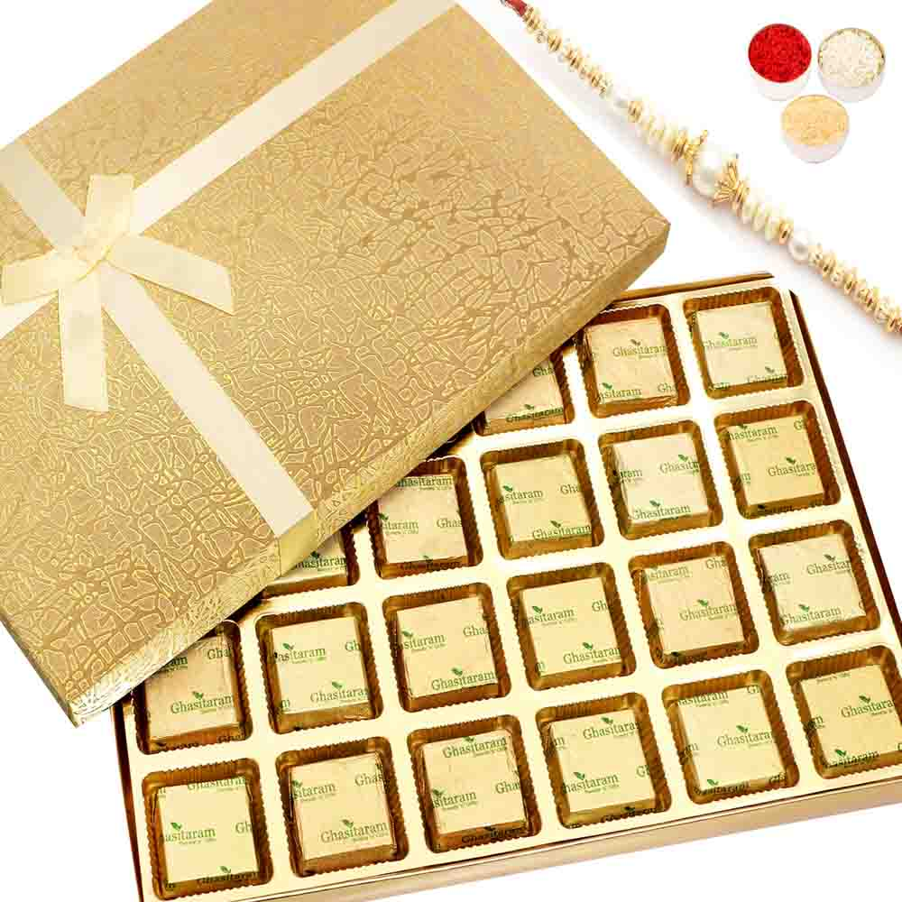 Rakhi Hampers-Golden 24 pcs Assorted Chocolate Box with Pearl Rakhi
