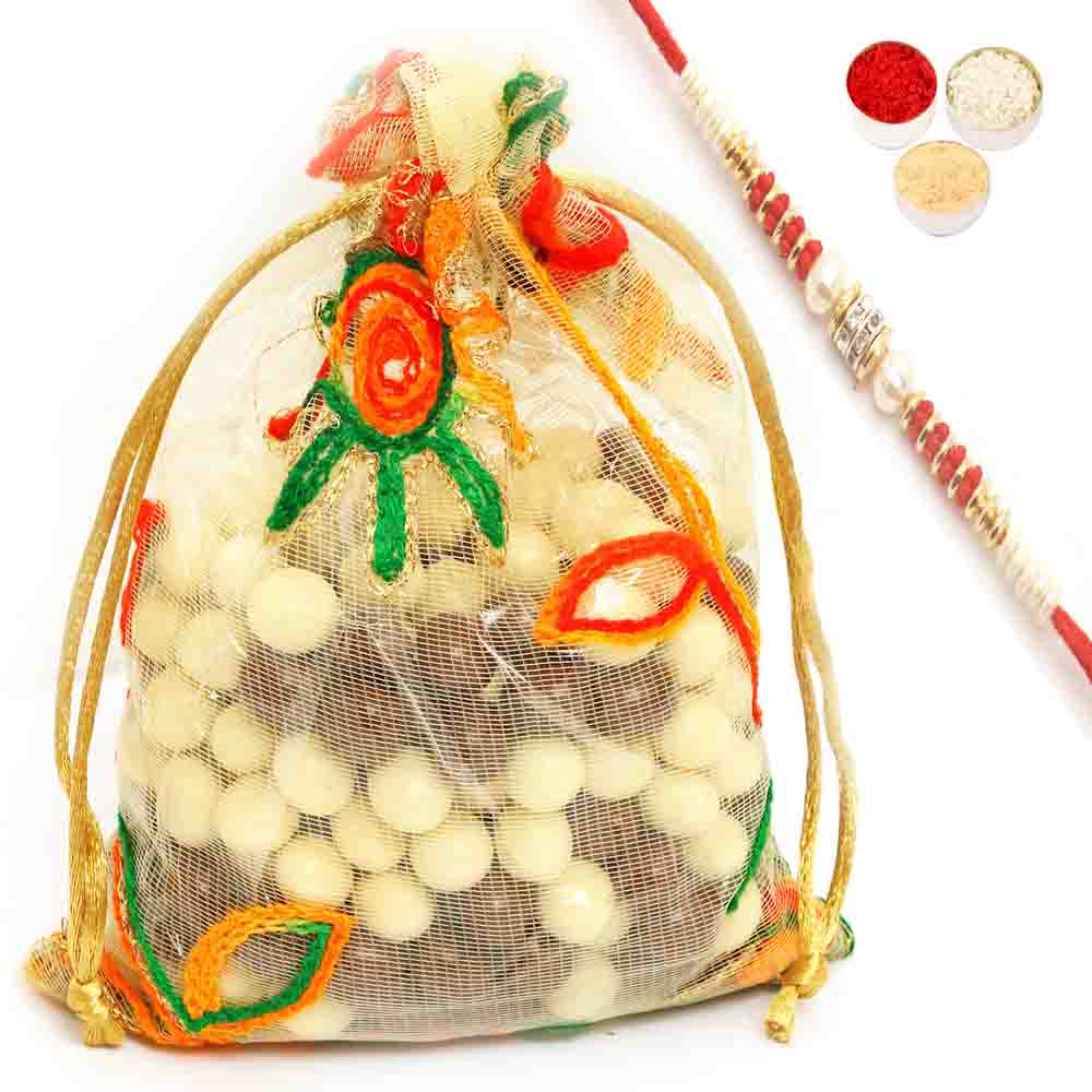 Rakhi Hampers-Nutties in Net Pouch with Red Pearl Rakhi