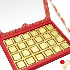 Rakhi Hampers-24 pcs Pink Printed Assorted Chocolate Box with Red Pearl Rakhi