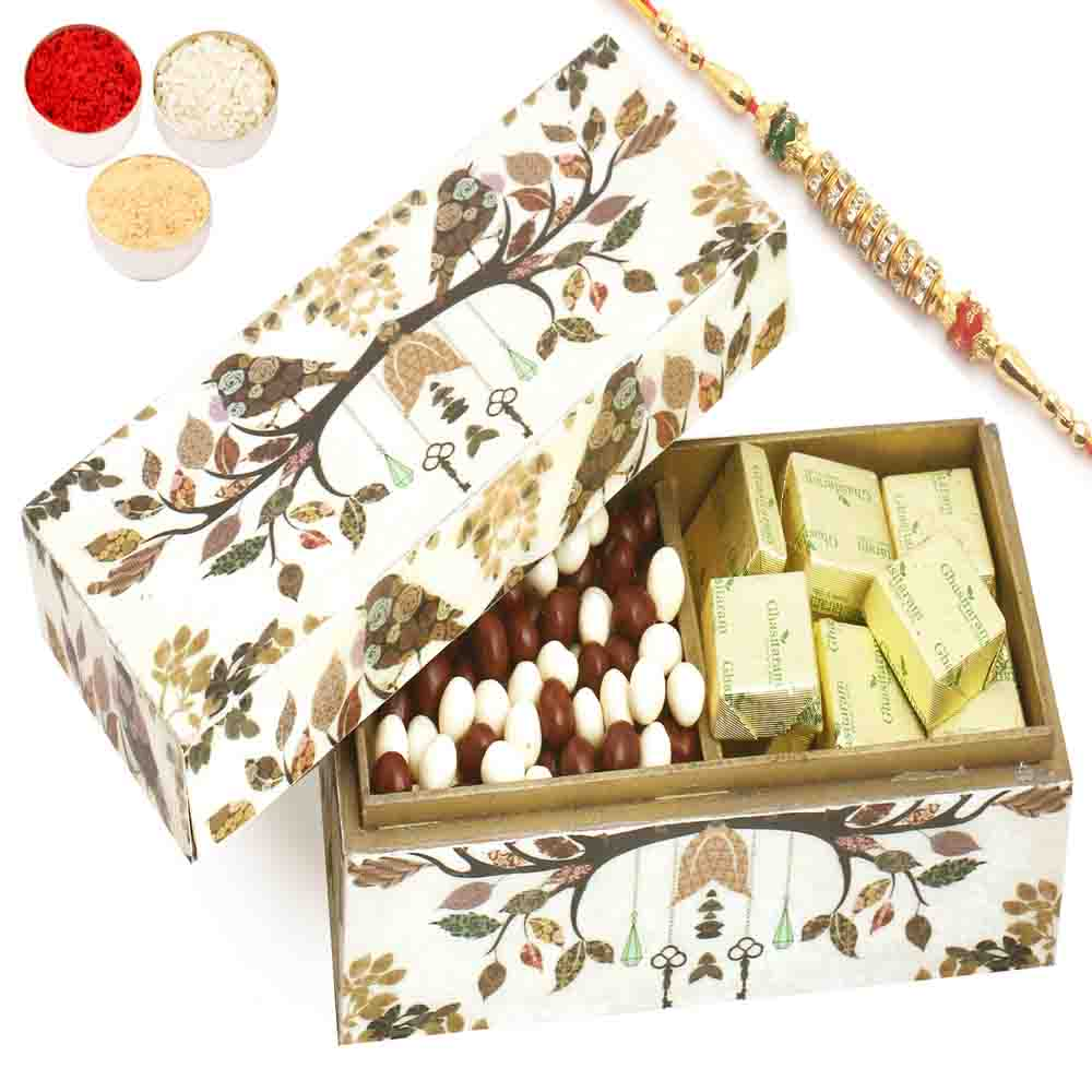 Wooden 2 part Chocolate And Nutties Box with Pearl Diamond Rakhi