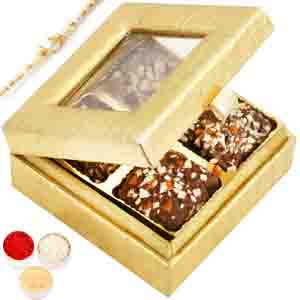 Rakhi Hampers-Golden Small English Brittle Chocolates Box with Pearl Rakhi