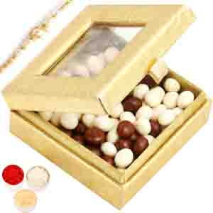 Rakhi Hampers-Golden Small Nutties Box with Pearl Rakhi