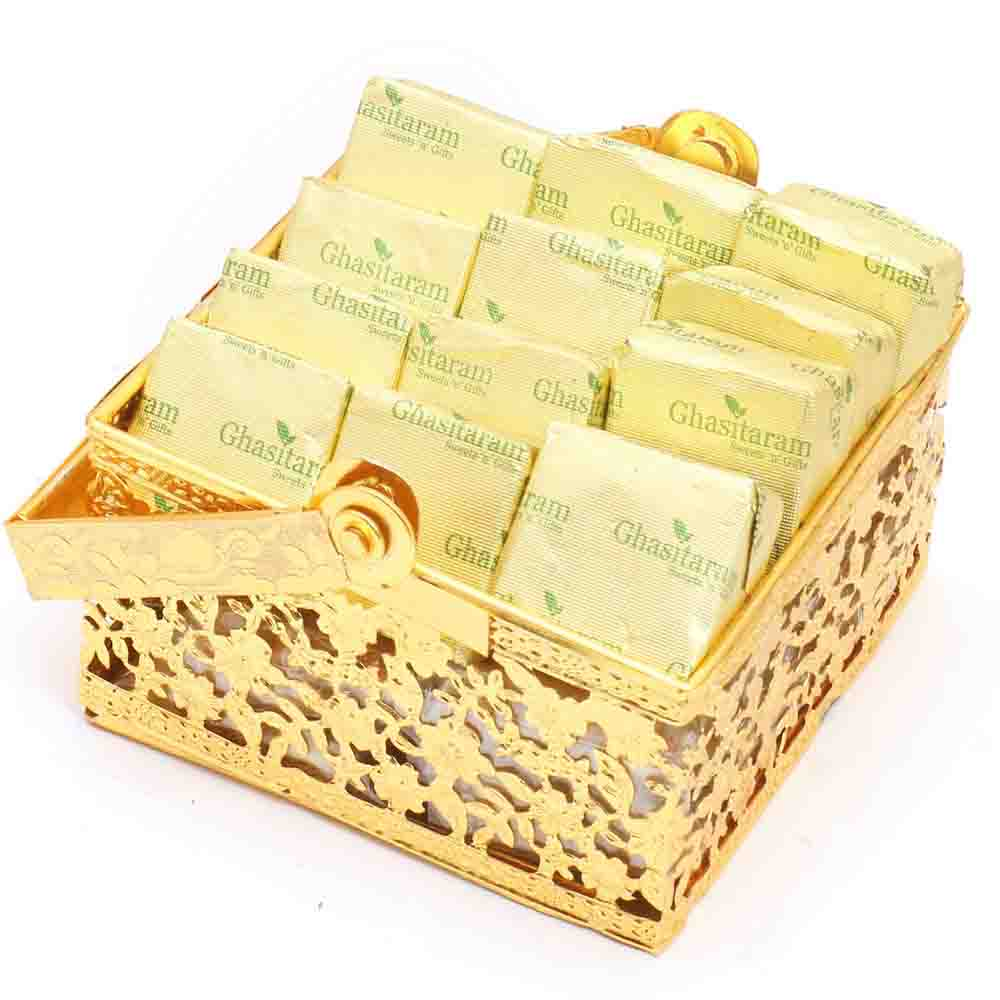 Rakhi Hampers-Golden Small Chocolate basket with Pearl Rakhi