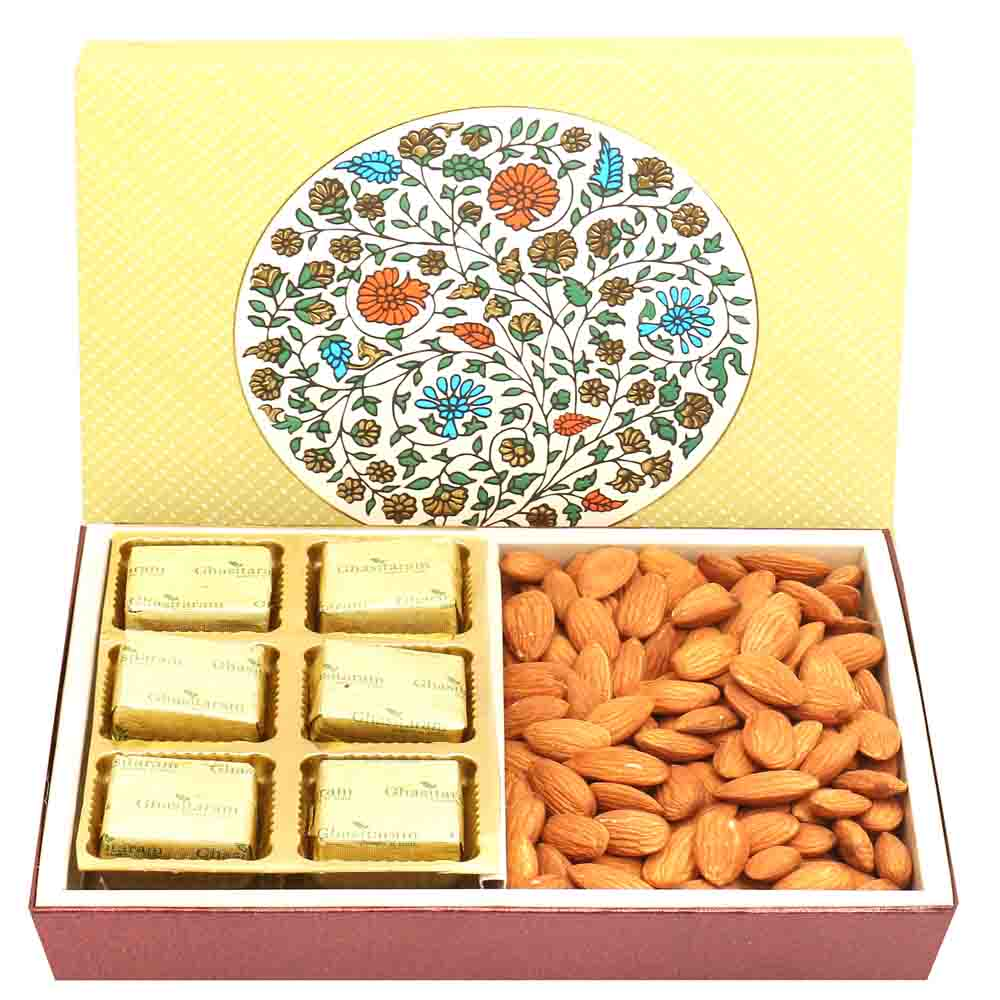 2 Part Eco Almonds and Chocolates Box with Pearl Diamond Rakhi