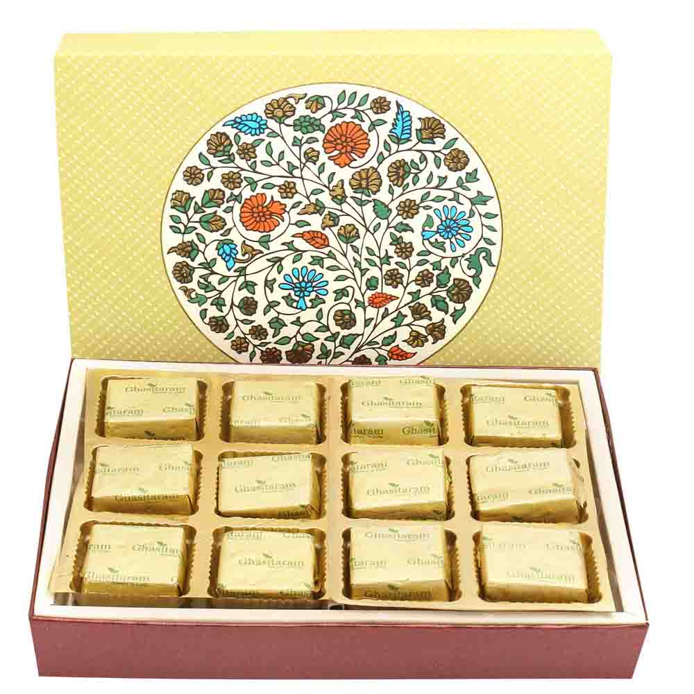 Rakhi Hampers-2 Part Eco 12 Pcs Chocolate Box with Pearl Diamond Rakhi
