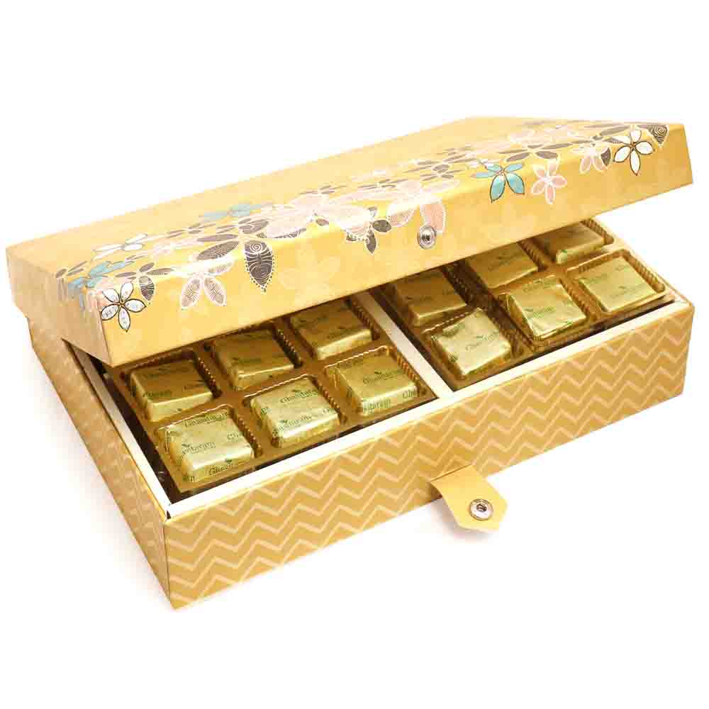 Gold 4 Print 24 Pcs Roasted Almond Chocolate Box with Pearl Rakhi