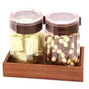Rakhi Hampers-Set of 2 Chocolates and Nutties Air Tight Containers with Wooden Tray with Pearl Rakhi
