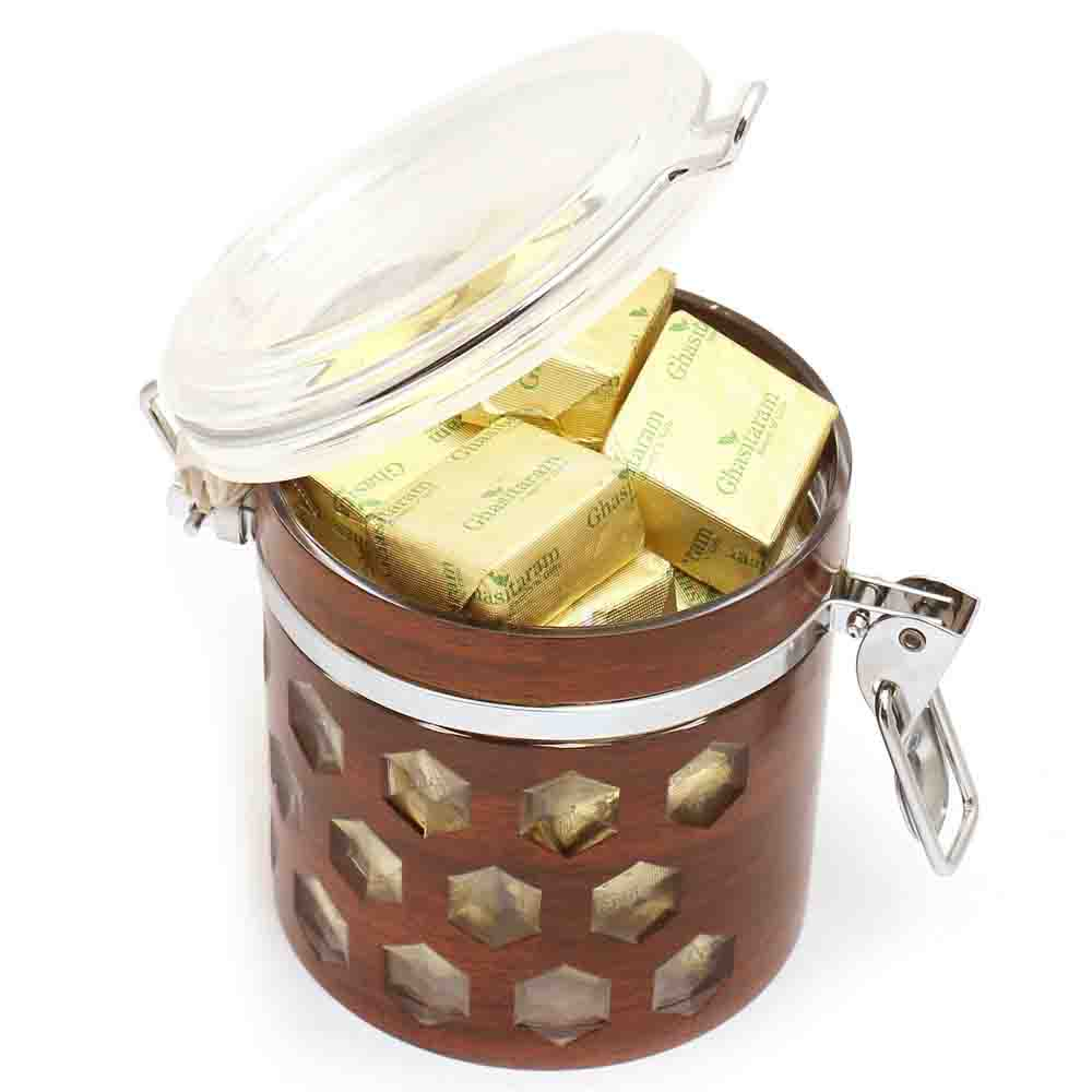 Rakhi Hampers-Premium Air Tight Wooden Acrylic Chocolates Container with Pearl Rakhi