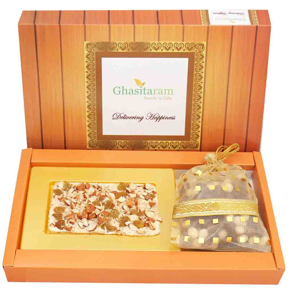 White Dryfruit Chocolate Bark Small with Nutties with Red Pearl Rakhi
