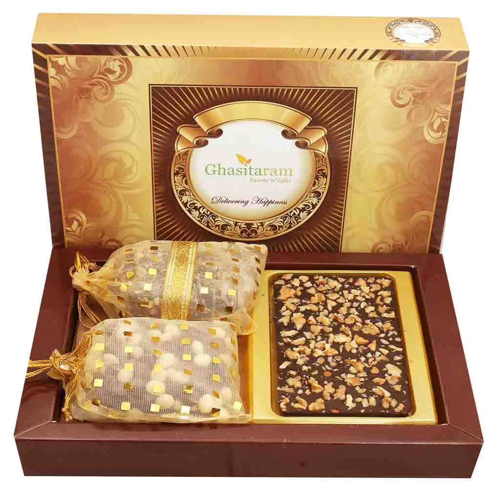 Walnut Chocolate Bark Big with Chocolate Brittles and Nutties with Pearl Diamond Rakhi