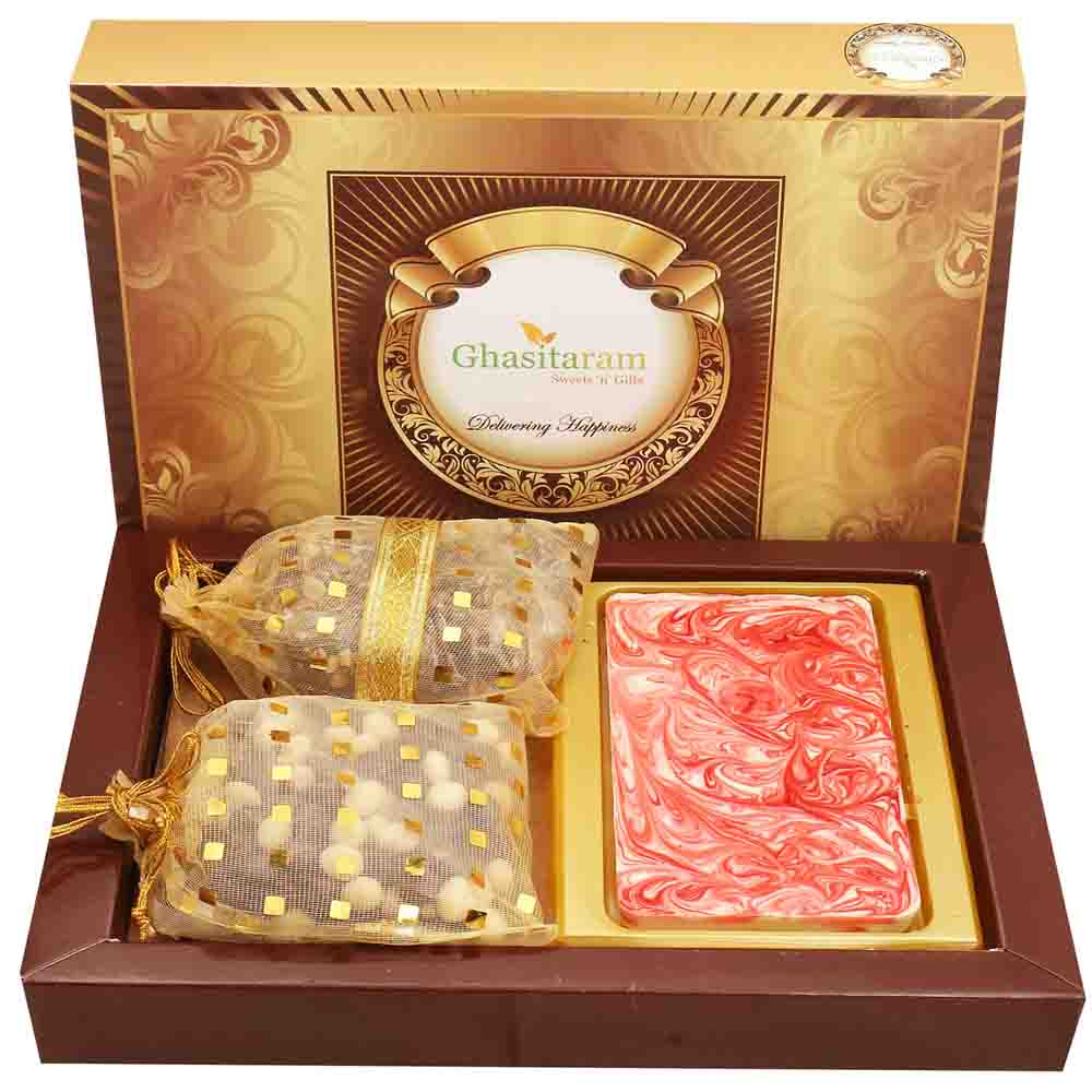 Rakhi Hampers-Marble Chocolate Bark Big with Chocolate Brittles and Nutties with Red Pearl Rakhi