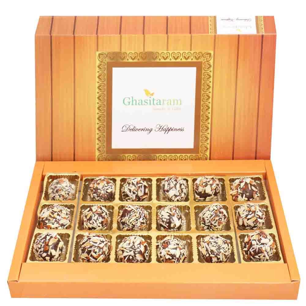 Chocolate Almond Truffles 18 pcs with Red Pearl Rakhi
