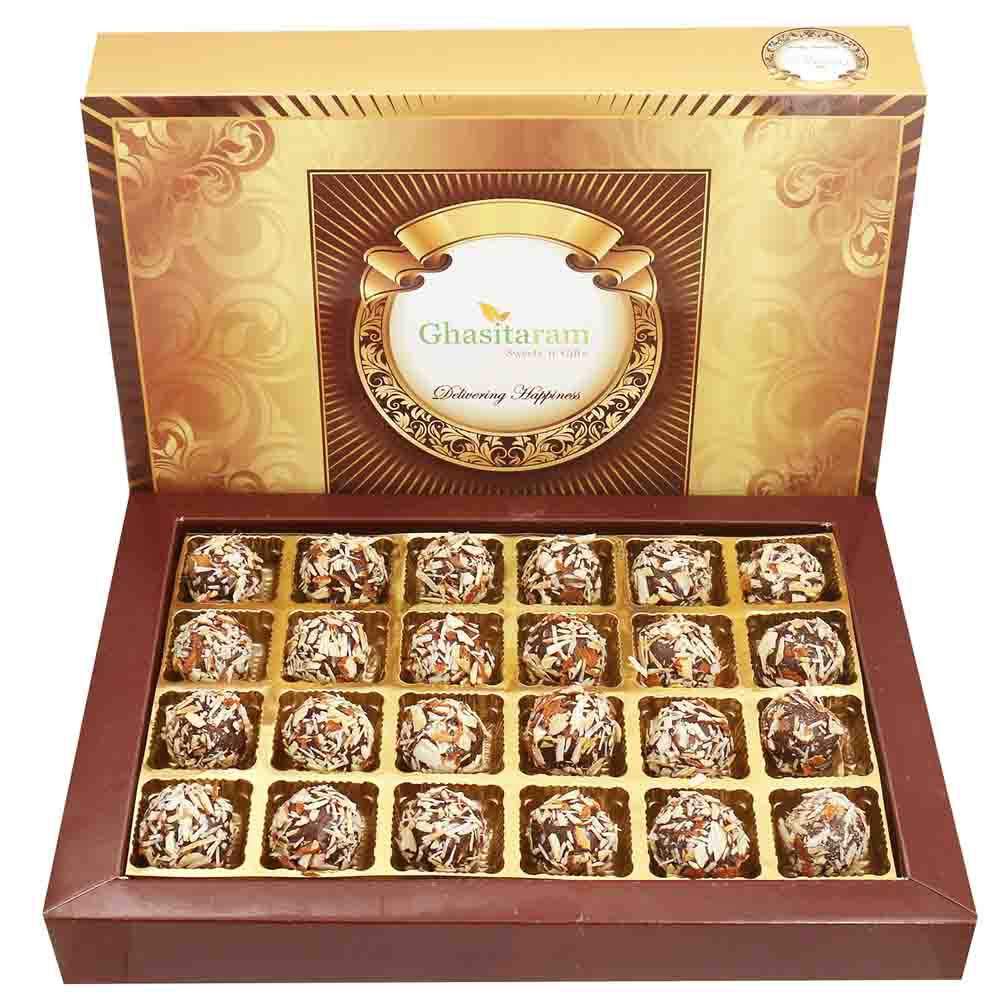 Chocolate Almond Truffles 24 pcs with Red Pearl Rakhi