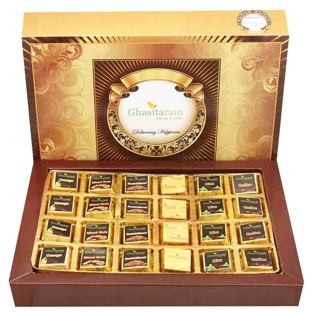 Big 6 Flavours Choclate Box 24 pcs with Pearl Rakhi