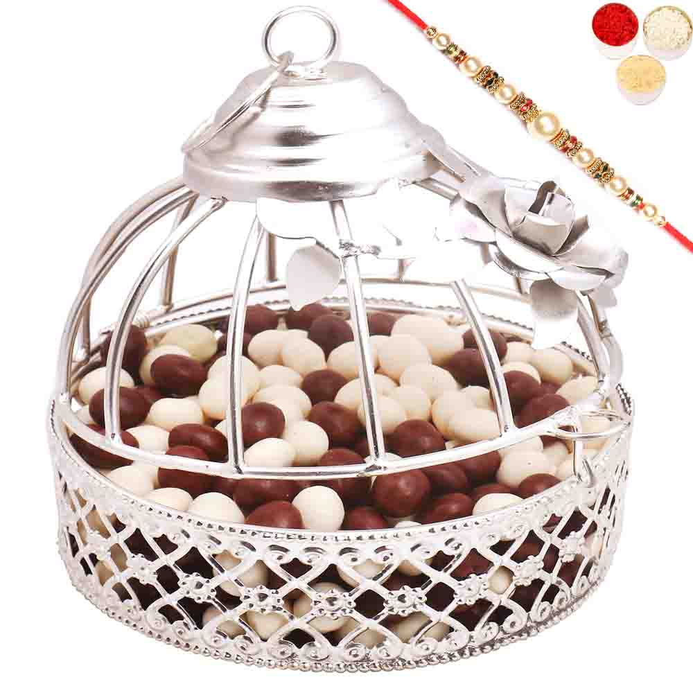 Silver Nutties Cage with Pearl Rakhi